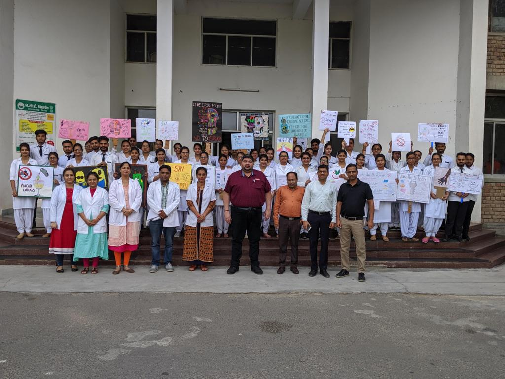"Rally on ""Say no to drugs"" was conducted by JCD, Dental College"
